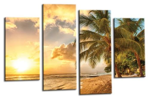 Tropical beach palm trees sand sunshine canvas wall art picture print multi panel