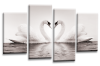 Grey White Black Love heart swans kissing canvas wall art multi panel picture print
