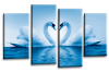 Blue White  Love heart swans kissing canvas wall art multi panel picture print