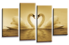 Sepia White  Love heart swans kissing canvas wall art multi panel picture print
