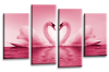 Pink White  Love heart swans kissing canvas wall art multi panel picture print
