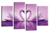 Purple White  Love heart swans kissing canvas wall art multi panel picture print