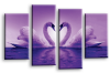 Dark Purple White  Love heart swans kissing canvas wall art multi panel picture print