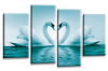 Teal White  Love heart swans kissing canvas wall art multi panel picture print