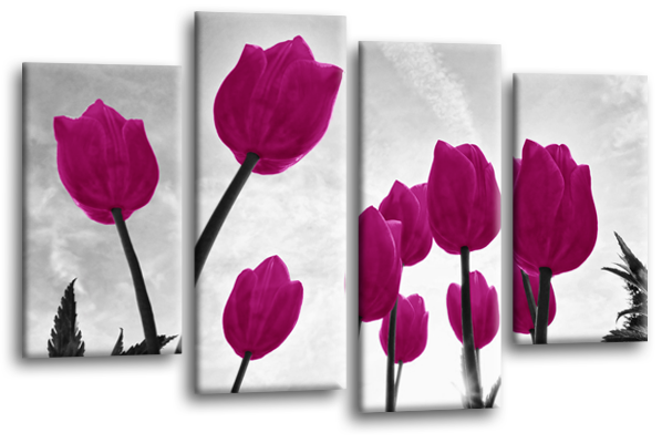 Tulips flowers canvas wall art picture print multi panel canvas wall art