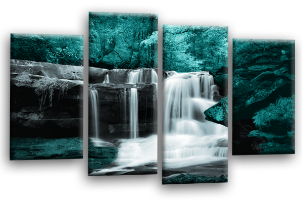 Teal grey Autumn forrest waterfall canvas wall art picture print multi panel